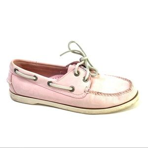 LL Bean Boat Shoes loafers pale baby pink 7